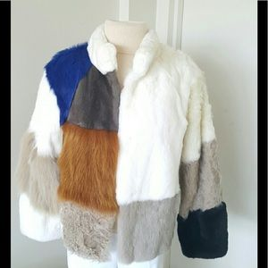 Roschterra Multicolor Fur Mink Leather Jacket Sz S