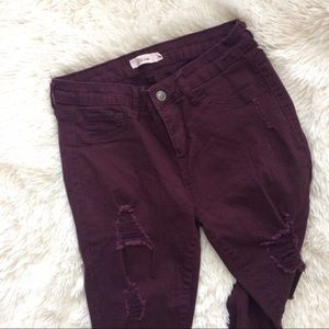 Cello Jeans Denim - CELLO JEANS maroon factory destroyed skinny jeans