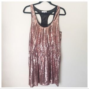 Dresses & Skirts - Rose Gold Sequin Racerback Dress