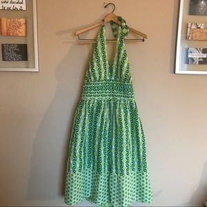 Amanda Lane Dresses & Skirts - Amanda Lane printed green and white halter dress
