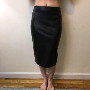 Zara Black Midi Pencil Leather Skirt