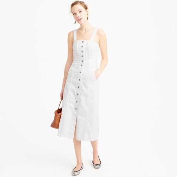 c478261e20c J. Crew White Denim Apron Dress