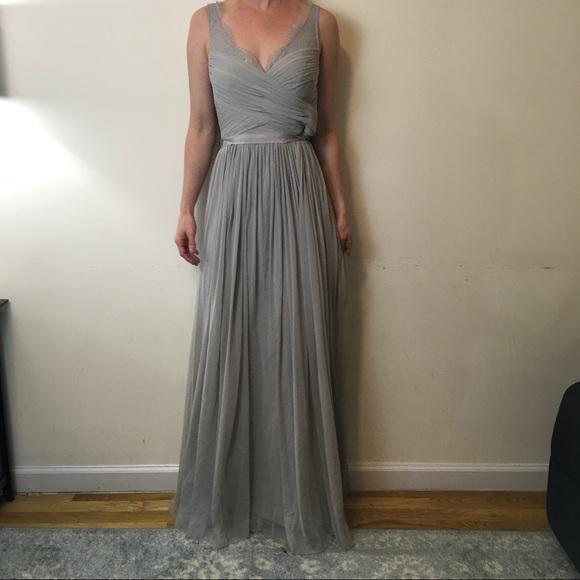 f1fd97d63a Anthropologie Dresses   Skirts - Hitherto Fleur Mist Grey Maxi Bridesmaid  Dress