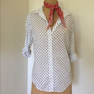 J Crew Polka Dot Button Down