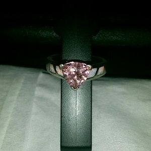 Pink with pearl accents sterling silver ring