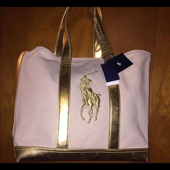 Women Ralph Lauren big polo gold canvas tote. M 5934d1c64e8d177096084036 152d10e6ef7fb
