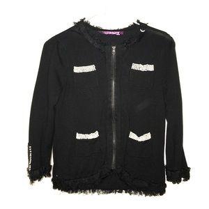10 Crosby Derek Lam Jackets & Blazers - Black cardigan/jacket with zipper and pearls