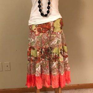 boutique Dresses & Skirts - Boho Floral Cotton Skirt Medium, NWOT!