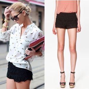 Zara Basic Black Crochet Lace Shorts