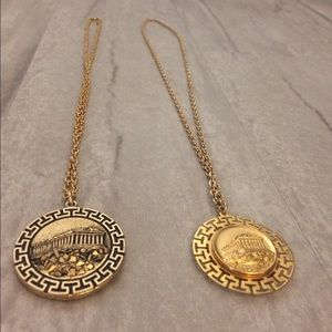 Jewelry - Gold Greek Goddess Emblem Pendant Necklaces
