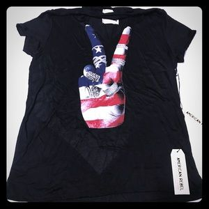 4th of July Choker Top Tee w Bling Peace sign Flag