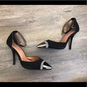 Jeffrey Campbell pointy suede metal heels size 6