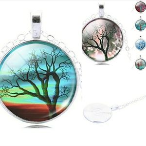 Jewelry - Colorful Glass Tree of Life Cabochon Necklace