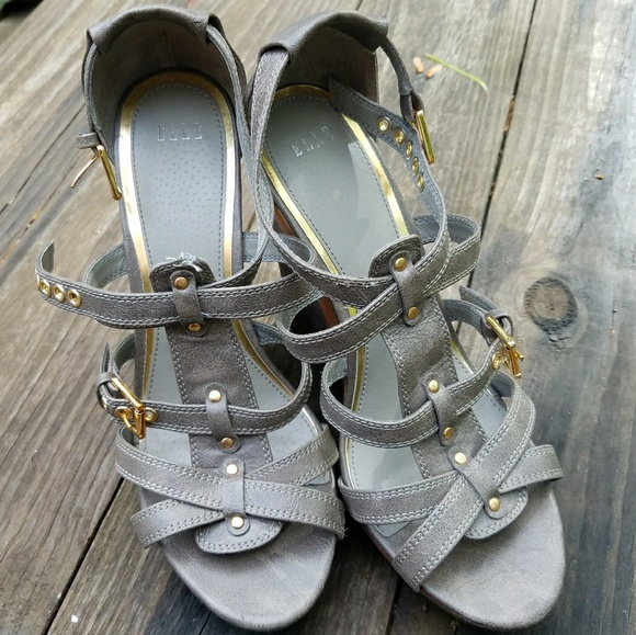 542018cada8e Elle Shoes - Elle Boho Wood Look Gray Platform Wedges
