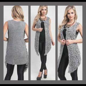 Sweaters - Gray Loop Stitch Wool Cardigan