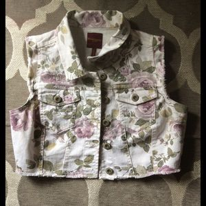 Highway Jeans Jackets & Blazers - Floral Cutoff Denim Jacket