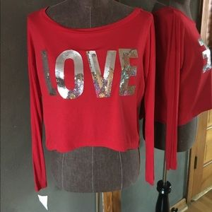 NWT Red long sleeved cropped LOVE ❤️ Shirt