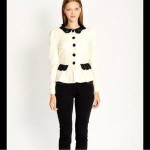 Tuxedo Style Lace Peplum Style Blazer Cardigan Top