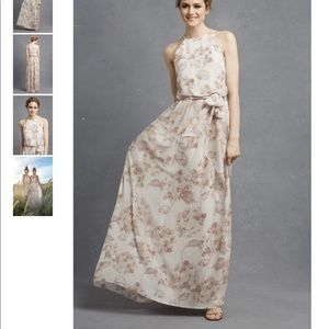 Donna Morgan floral bridesmaid dress.