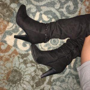 black chain heel boots