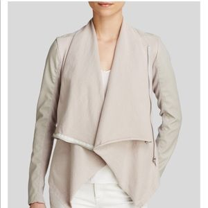 BlankNYC Faux Leather Asymmetric Jacket in Taupe