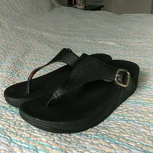 ed9ba5445a6900 Fitflop Shoes - Fitflop Skinny Deluxe 458-001 Black Thong Sandal 5