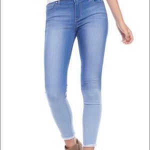 Celebrity Pink Denim - Frayed ankle skinny jeans. Fitted and stretchy