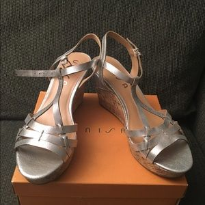Unisa Shoes - Unisa Silver Leather Wedge Sandals Size 11