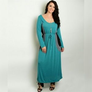 Plus Size Maxi Dress Jade Black Grey Color Block