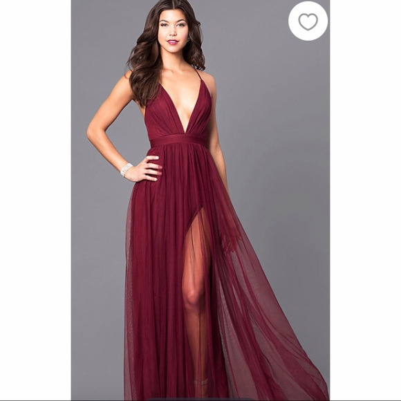 Prom Girl Dresses Pf Long Deep Vneckline Wine Colored Formal Gown