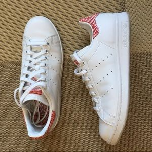 adidas Shoes - White Stan Smiths with Red Zebra trim