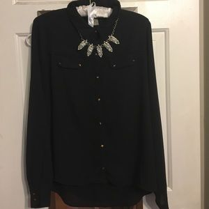 Forever 21 black and gold studded sheer top
