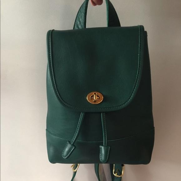 97c6195b706d5 Coach Handbags - Emerald Green Vintage Coach backpack purse