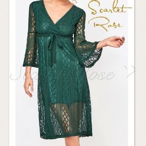 Scarlet Rose Boutique Dresses & Skirts - 🌹New Emerald Green Lace Midi Dress🌹