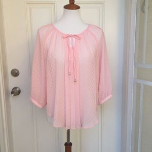 A. Byer Tops - A. Byer - Sheer Pink Swiss Dot Blouse