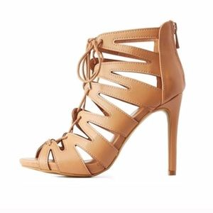 Steve Madden Shoes - Nude Caged Lace Up Heels