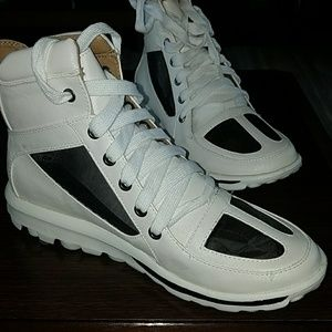White & Black High Top Translucent Sneakers