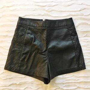 New faux black leather quilted shorts