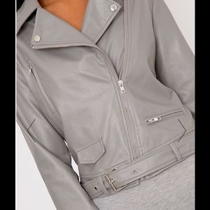 Jackets & Blazers - Grey PU Biker Jacket