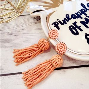 NWOT Peach Beaded Tassel Earrings