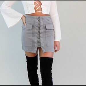 Gray Suede Lace Up Skirt