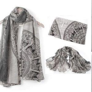 Accessories - Boho Gray & White Scarf