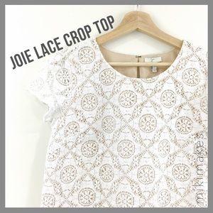 [ joie ] cream lace crop top cap sleeve