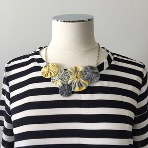 Handmade Fabric Floral Statement Necklace