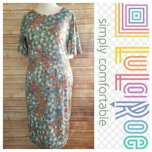 NWT Lularoe Julia Dress Blue Floral Print 2XL