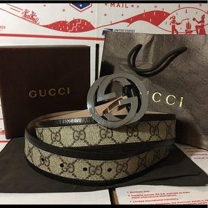 Gucci Other - 💕 Authetic Men Gucci Belt Brown Trim Monogram