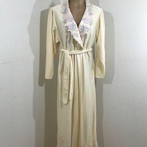 Vintage 1980s Ivory Oscar De La Rents Robe floral