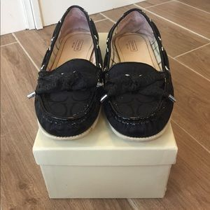 Coach Shoes - Coach with bow tie. Black loafers with black logo