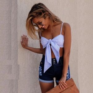 🆕 Madison Striped Bow Tie Bralette Crop Top
