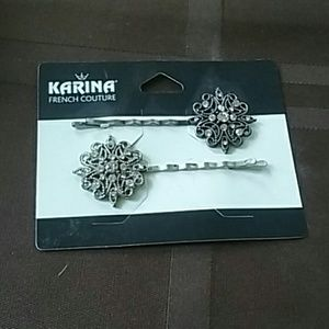 LAST TIME Silver and crystal accessory bobbie pins